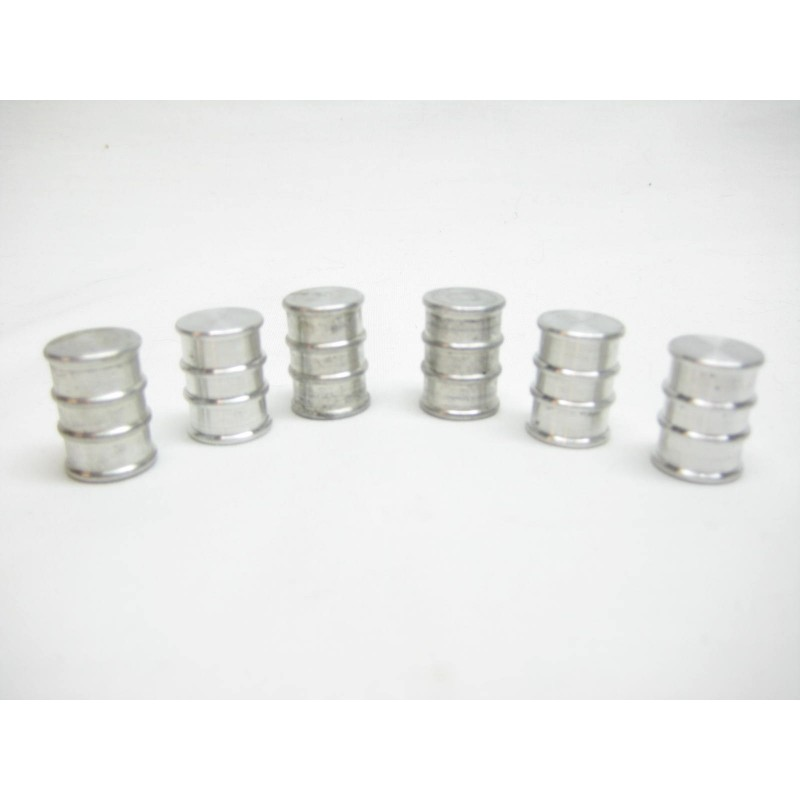 6 Aluminum Oil Drums for American Flyer Stations, Platforms & Buildings